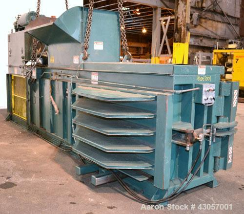 Used- Marathon Equipment Closed End Horizontal Side Ejector Baler, Model SE-503042-830, Carbon Steel. Feed chamber 50'' long...