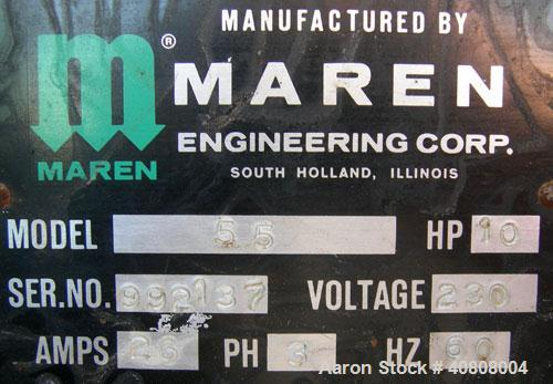 """Used- Maren Vertical Drum Crusher, Model 55, Carbon Steel. Approximate drum size 29"""" wide x 28 1/2"""" long x 39"""" tall. 26"""" Dia..."""