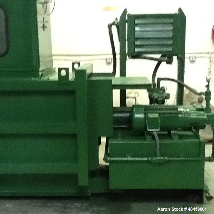 "Used- Maren Closed Chamber Automatic High Density Baler, Model 122. 15 ft long x 49 in. wide x 53 in. high Feed hopper 30"" x..."