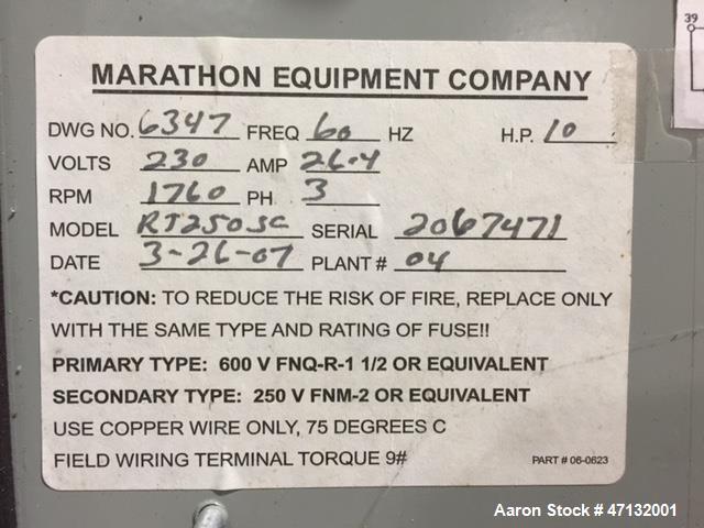 Used- Marathon Baler, Model RJ250SC, 49,500 Force rating (Max lbs.) 10 HP.