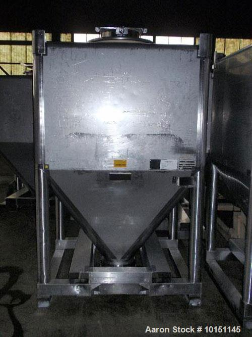 """Used-Approximately 2000 Liter (65 cubic foot), 316 Stainless Steel, Stackable Tote Bin.51.5"""" x 44.5"""" x 37"""" straight side wit..."""