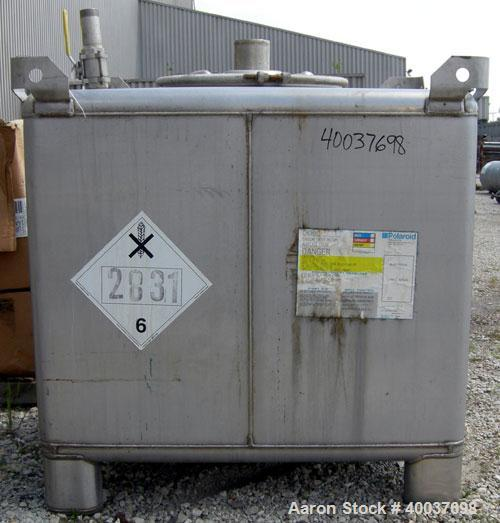 """Used- Hoover Group Liquid Tote Bin, 46.77 cubic feet (350 gallon), 304 stainless steel. 42"""" wide x 48"""" long x 42"""" tall. Inte..."""