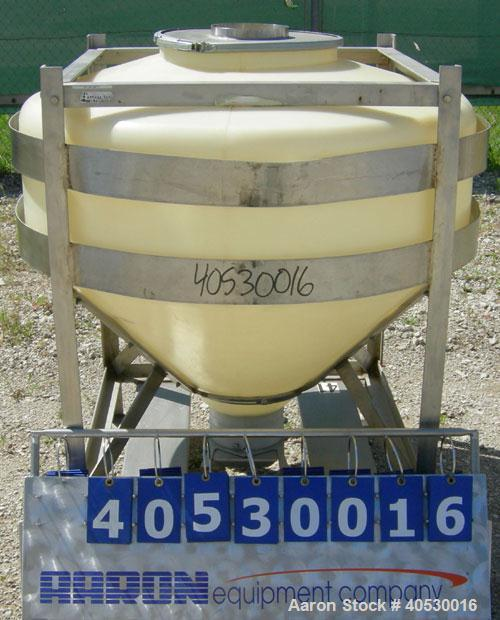 "Used- Plastic tote bin, approximately 18 cubic feet (134 gallon). 46"" diameter x 14"" straight side x 24"" coned bottom. Top o..."