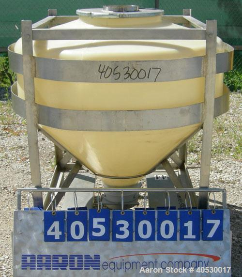 """Used- Plastic tote bin, approximately 18 cubic feet (134 gallon). 46"""" diameter x 14"""" straight side x 24"""" coned bottom. Top o..."""