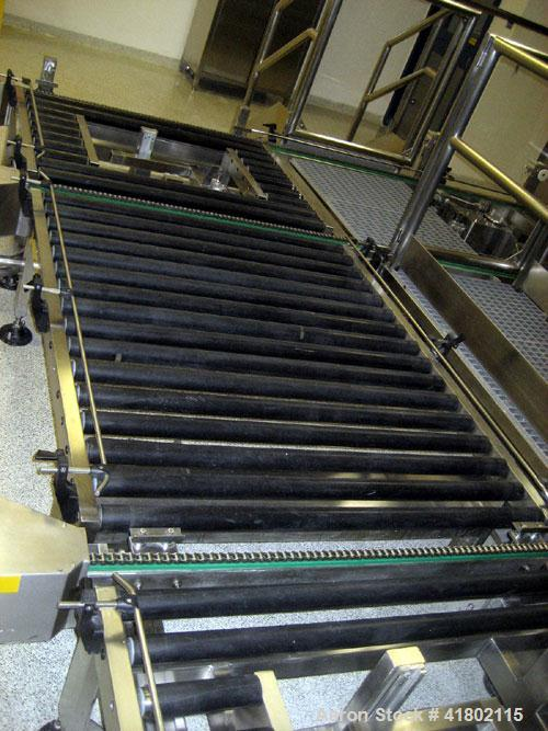 "Used- Zanchetta dual station automatic bin washer system, 48"" wide conveyor system, (2) cleaning/drying chambers with bin ti..."