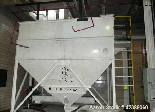 "Used- Mild Steel Storage Bin With Taper Bottom Approx. 13'L X 12'H X 10'W With 10'L X 14""W Screw Conveyor, 13'L Leveling Con..."