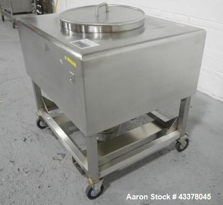 "Used-19 cu ft tote bin, stainless steel construction, approximately 35"" x 42"" x 18"" straight side x 13"" cone bottom, 22"" top..."