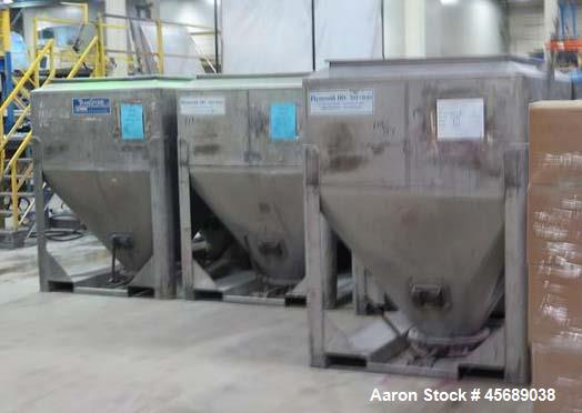 "Used-Lot Consisting of 48 Stainless Steel Totes.  55"" Wide x 27.5"" Straight Side x 42.5"" Cone.  43.5"" x 43.5"" Square Top Ope..."