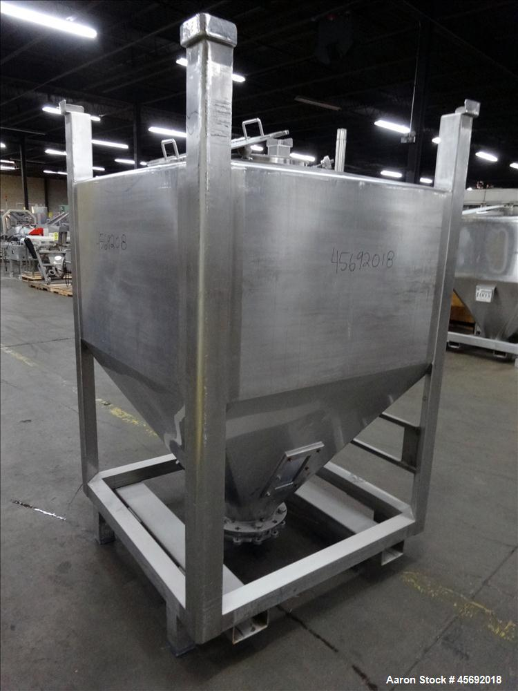 "Used- Tote Bin, Approximately 36 Cubic Feet, 230 Gallons, Stainless Steel. 48"" long x 48"" wide x 27"" straight side. Flat top..."