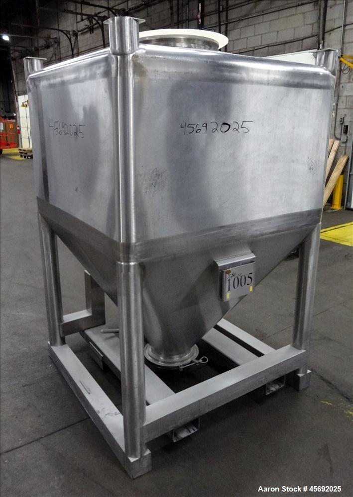 "Used- Tote Bin, Approximately 36 Cubic Feet, 230 Gallons, Stainless Steel. 47"" long x 47"" wide x 28"" straight side. Flat top..."