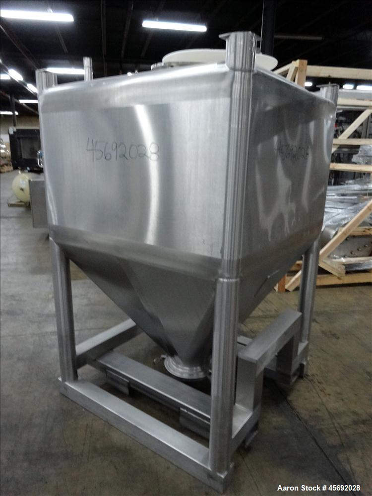 """Used- Tote Bin, Approximately 36 Cubic Feet, 230 Gallons, Stainless Steel. 47"""" long x 47"""" wide x 28"""" straight side. Flat top..."""