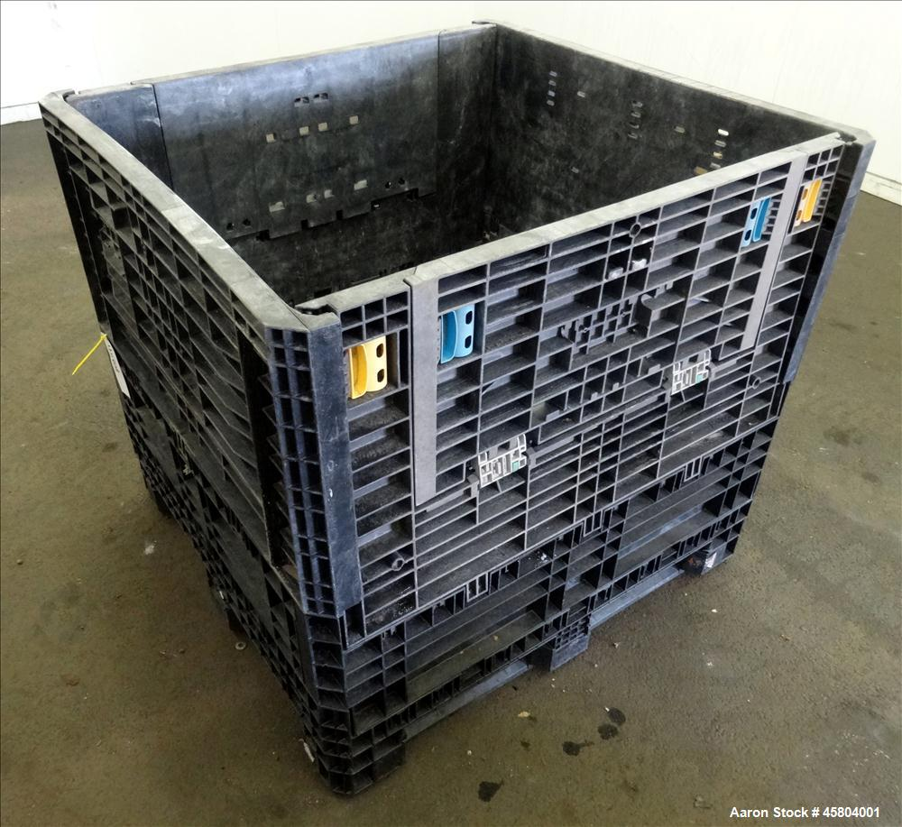 Used- Buckhorn Industry Standard Collapsible Plastic Crate / Box, Approximate Volume 39.5 Cubic Feet, 1800 lbs. capacity, Pl...