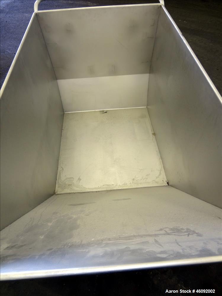 """Unused- Liquid Tote, Approximate 25 Cubic Feet (200 gallons), 304 Stainless Steel. Self dumping bin Approximate 56"""" long x 3..."""