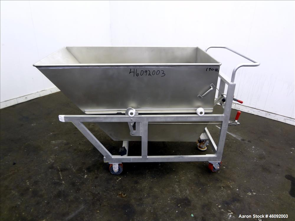 "Unused- Liquid Tote, Approximate 25 Cubic Feet (200 gallons), 304 Stainless Steel. Self dumping bin Approximate 56"" long x 3..."