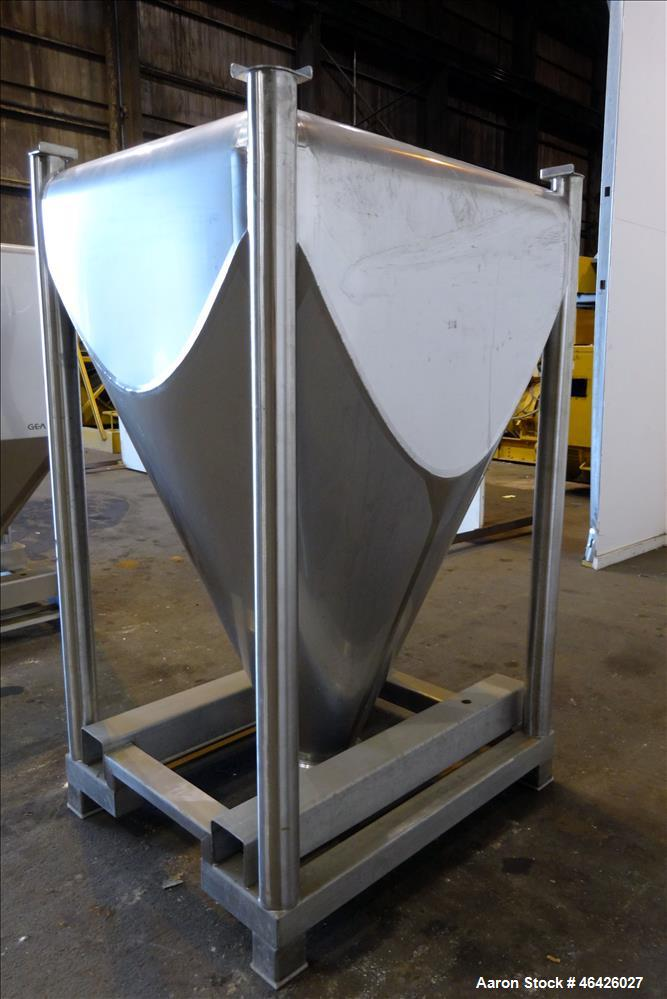 "Used- Stackable Powder Tote Bin, Approximately 30 Cubic Feet, 316 Stainless Steel. 52"" Long x 44"" wide x 10"" straight side x..."