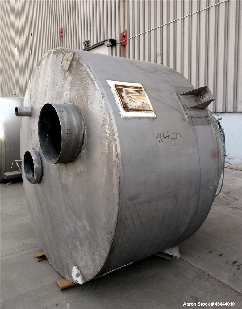 "Used- Hopper, Approximate 170 Cubic Feet, 304 Stainless Steel, Vertical. 84"" Diameter x 43"" straight side x 30"" coned bottom..."