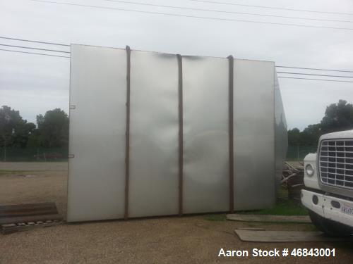 Used- Stainless Steel Hopper/Bin. 12' x 12' wide x 16' long. Outside support constructed of mild steel.