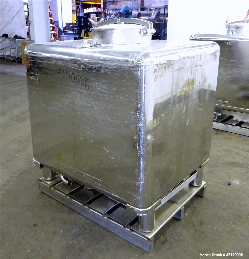 "Used- WFI Water Tote Bin, Approximate 45 Cubic Feet, 316L Stainless Steel. Approximate 48"" long x 42"" wide x 41"" deep x 36"" ..."