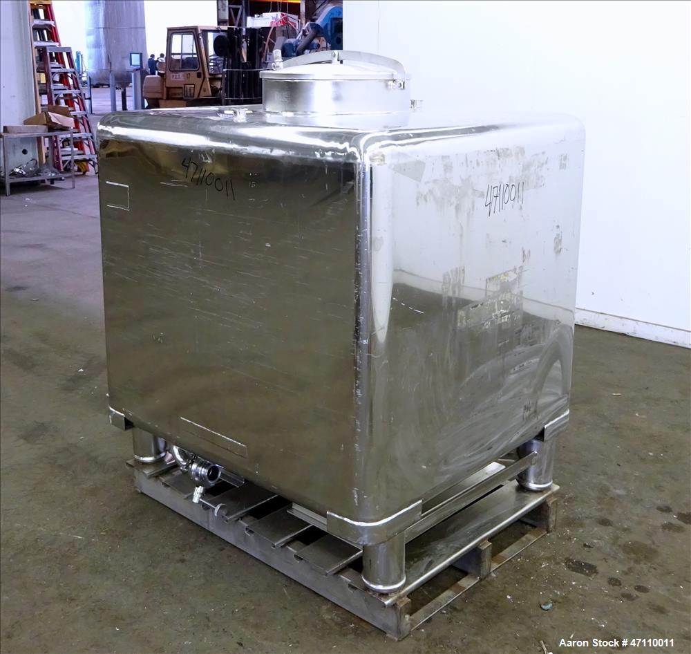 Used- WFI Water Tote Bin, Approximate 45 Cubic Feet, 316L Stainless Steel.