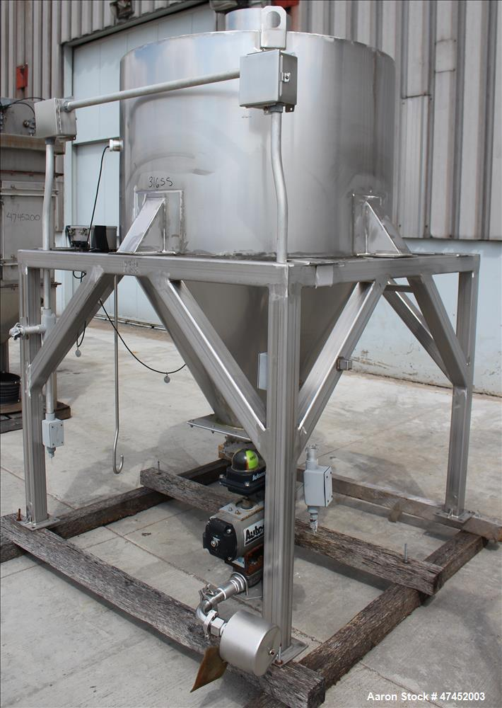 Used- Hopper, Approximate 30 Cubic Feet, 316 Stainless Steel, Vertical.