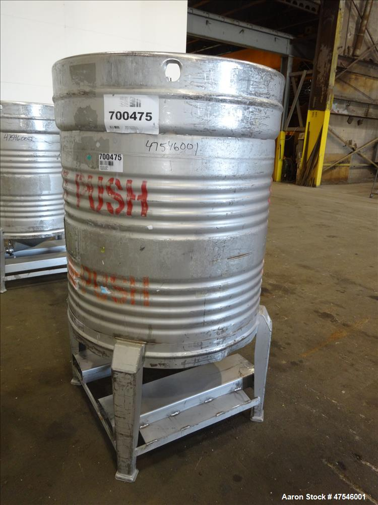 Used- Theresa Friedman & Sons Tote Bin, 800 Liter, 28 Cubic Feet, 304 Stainless
