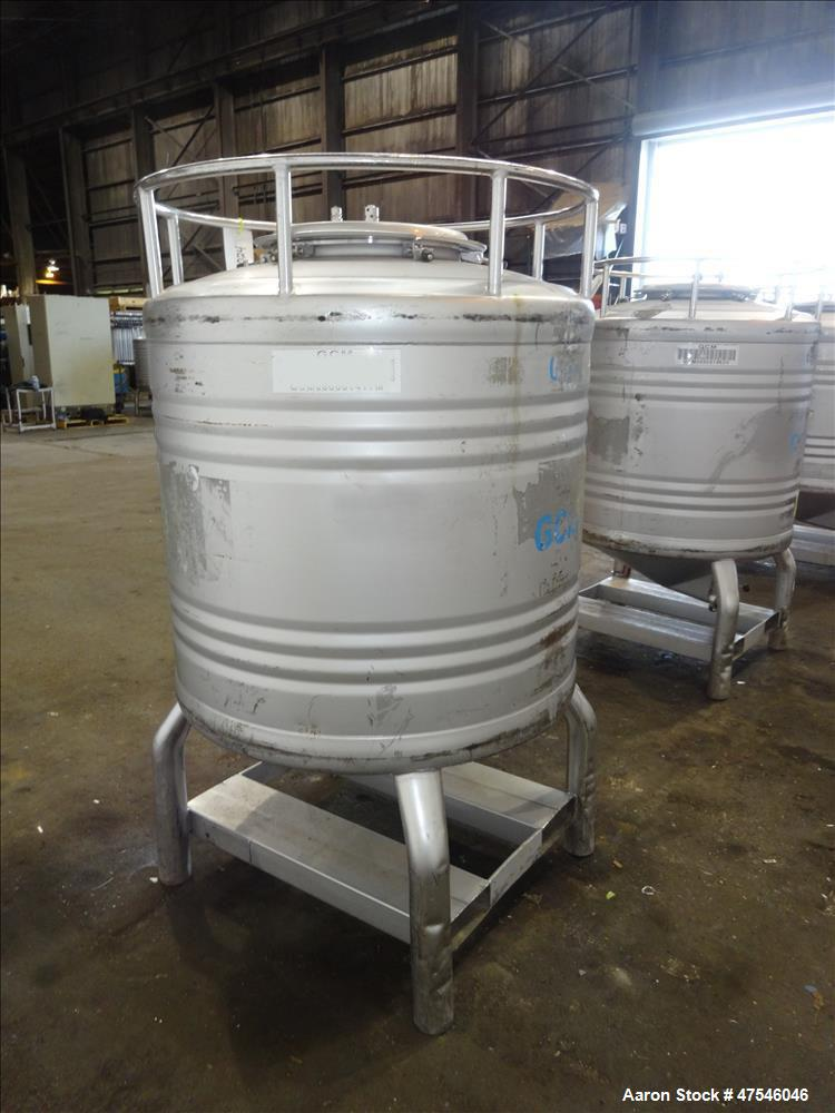 """Used- Automationstechnik Tote Bin, 800 Liter, 28 Cubic Feet, 304 Stainless Steel, Vertical. Approximate 40"""" diameter x 30"""" s..."""