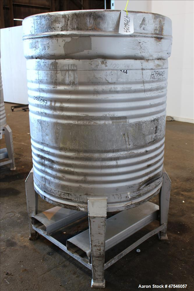 "Tote Bin, 800 Liter, 28 Cubic Feet, 304 Stainless Steel, Vertical. Approximate 40"" diameter x 30"" straight side. Dished top,..."