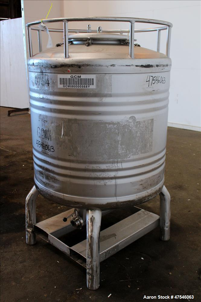 "Used- Automationstechnik Tote Bin, 800 Liter, 28 Cubic Feet, 304 Stainless Steel, Vertical. Approximate 40"" diameter x 30"" s..."