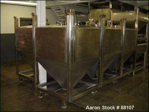 """USED: Tote bin, approximately 47 cubic feet, stainless steel. 48"""" wide x 46"""" long x 27"""" straight side x 30"""" coned bottom. 10..."""