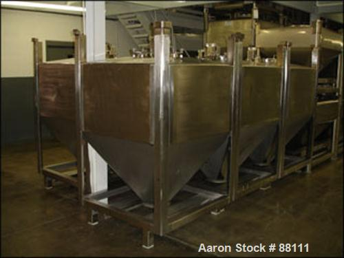 "USED: Tote bin, approximately 47 cubic feet, stainless steel. 48"" wide x 46"" long x 27"" straight side x 30"" coned bottom. 10..."