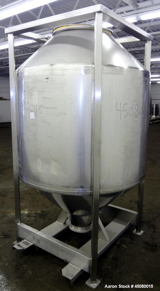 Used- Stainless Steel All-Weld Cone-In-Cone Tote Bin