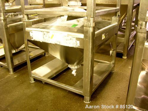 """Used- B&G Tote Bin, 16 Cubic Feet, Sanitary Stainless Steel. 40"""" x 40"""" x 8"""" straight side with 24'' cone bottom. Stackable, ..."""