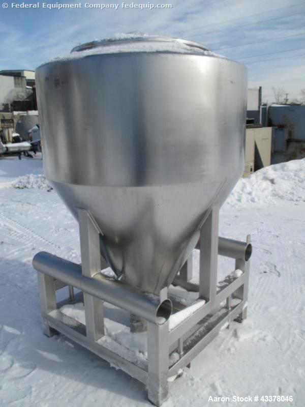 "Used- LB Bohle Bin, 1200 Liter (42 Cubic Feet), Model MCL1200S. Stainless steel construction. Approximately 60"" diameter x 2..."