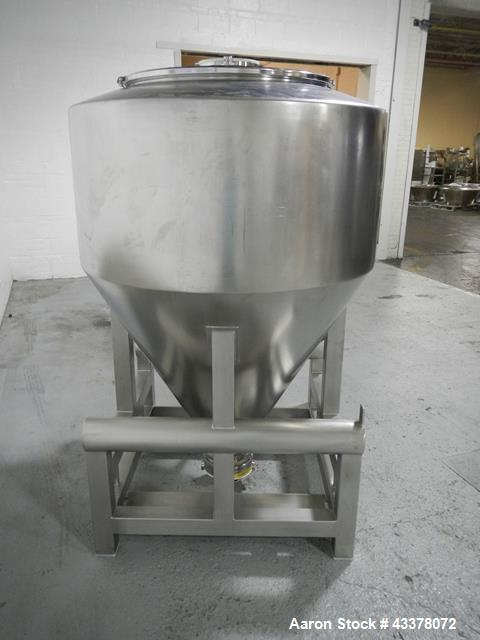 """Used-1200 liter LB Bohle bin, model MCL1200S, 1200 liter(42 cu ft) capacity, stainless steel construction, approximately 60""""..."""