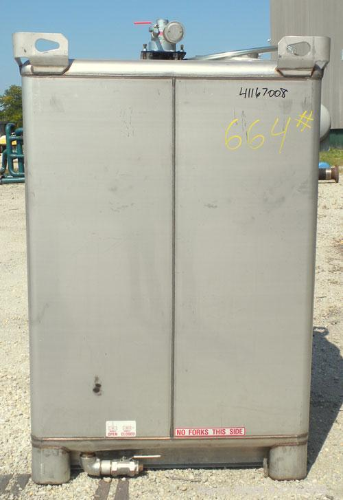 Used- Custom Metalcraft TranStore Stackable Liquid Tote, 70.1 Cubic Feet (550 gallon), Model 513782, 304 Stainless Steel. 48...