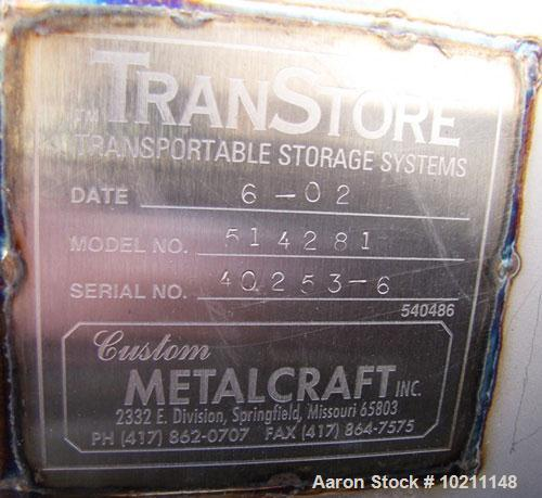"Used-Custom Metalcraft Bin, Model 514281.  Approximately 34 cubic feet, stainless steel.  36"" x 36"" x 48"" high.  22-1/2"" Top..."