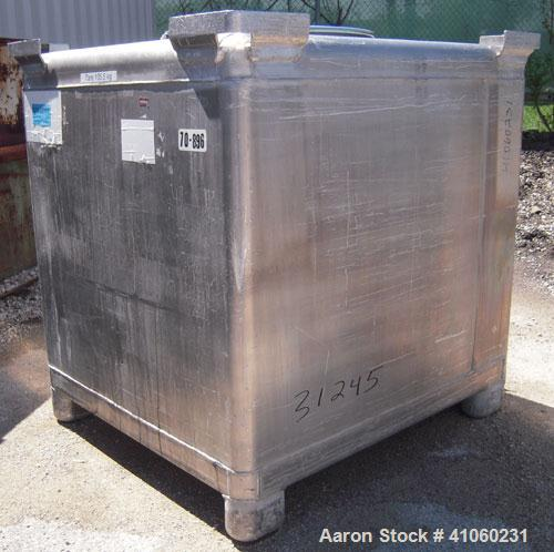 "Used- Custom Metal Craft Powder Stackable Tote Bin, Approximately 50 Cubic Feet, Aluminum. 48"" Wide x 42"" long x approximate..."