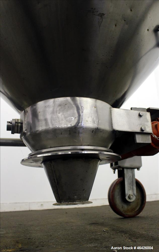 "Used- Expert Steel Fabricators Powder Tote Bin, Approximately 35 Cubic Feet, 304 Stainless Steel. 46"" Diameter x 30"" straigh..."
