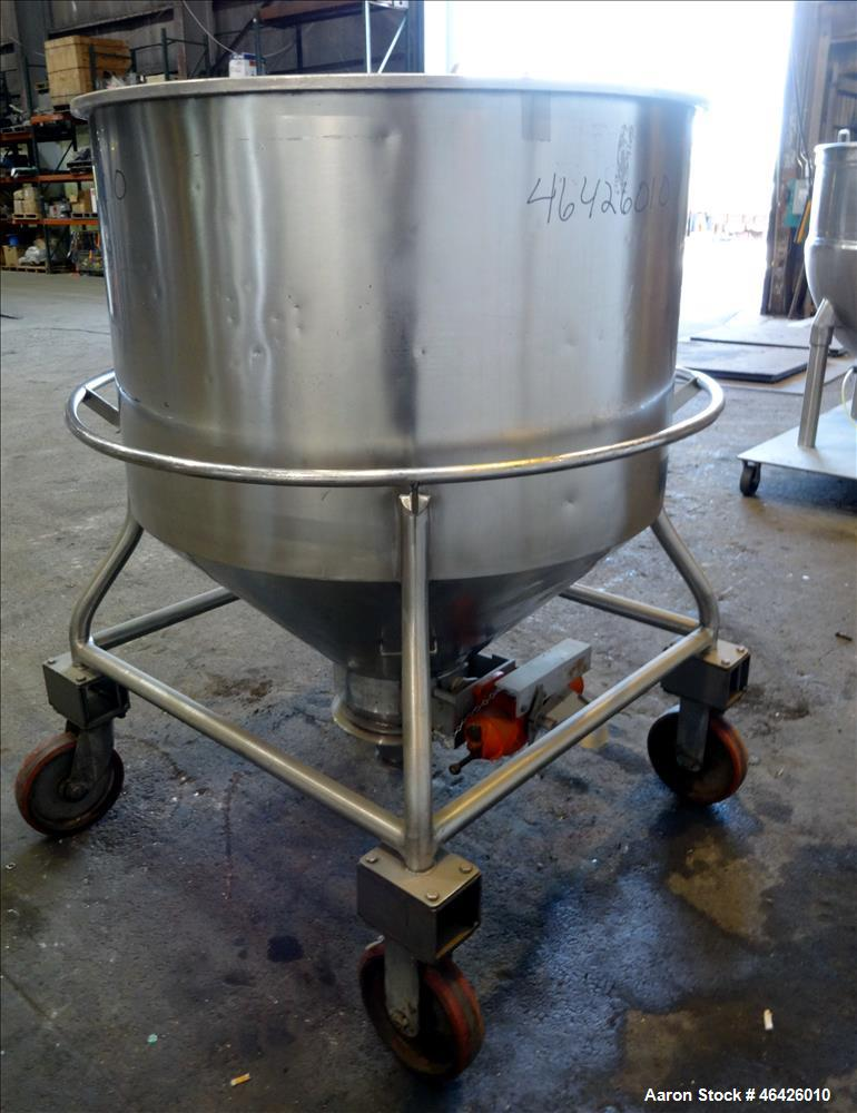 "Used- Expert Steel Fabricators Powder Tote Bin, Approximately 35 Cubic Feet, 304 Stainless Steel. 46"" Diameter x 30"" straigh..."