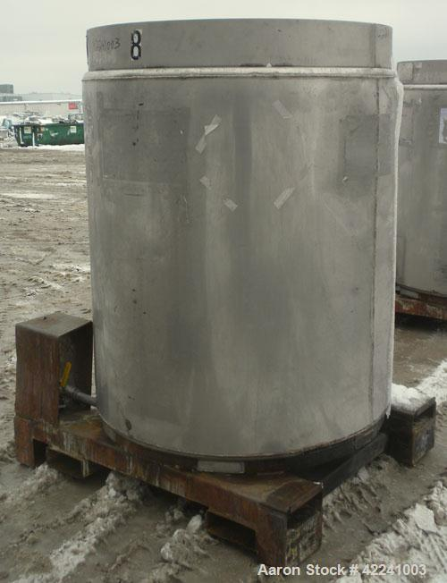 "Used- Fabricated Metals Inc Liqua-Bin Liquid Tote, 46.10 cubic feet (345 gallon), 316 stainless steel, vertical. 45 1/2"" dia..."