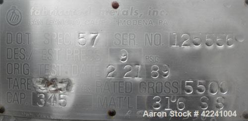 Used- Stainless Steel Fabricated Metals Inc Liqua-Bin Liquid Tote