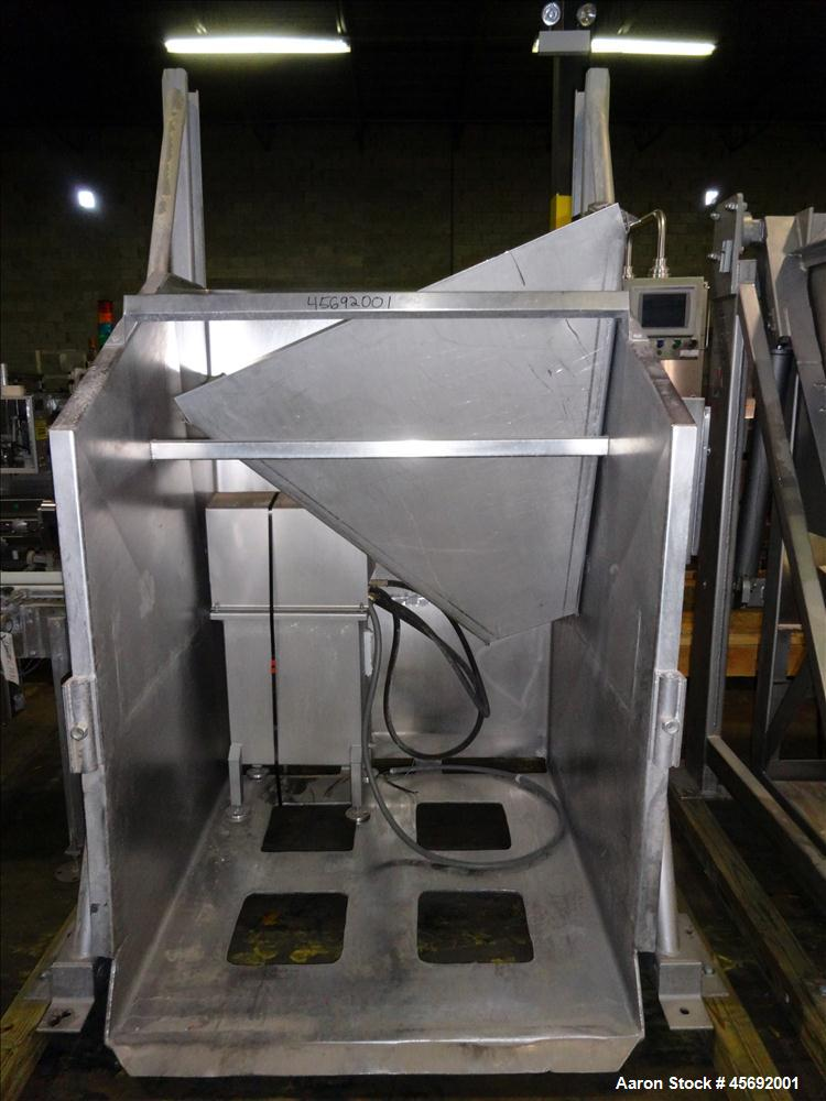 "Used- FPEC High Lift Gaylord Box Dumper, Model HLD 725, Stainless Steel. Has a capacity of 3,000 lbs, platform size of 48"" l..."