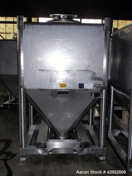 """Used- Gallay Stackable Tote Bin, 65 cubic feet (2000 liter), 316 stainless steel. 51-1/2"""" long x 44-1/2"""" wide x 37"""" straight..."""