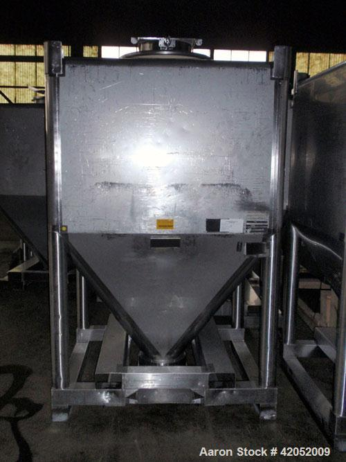 Used- Gallay Stackable Tote Bin, 65 cubic feet (2000 liter), 316 stainless steel. 51-1/2'' long x 44-1/2'' wide x 37'' strai...
