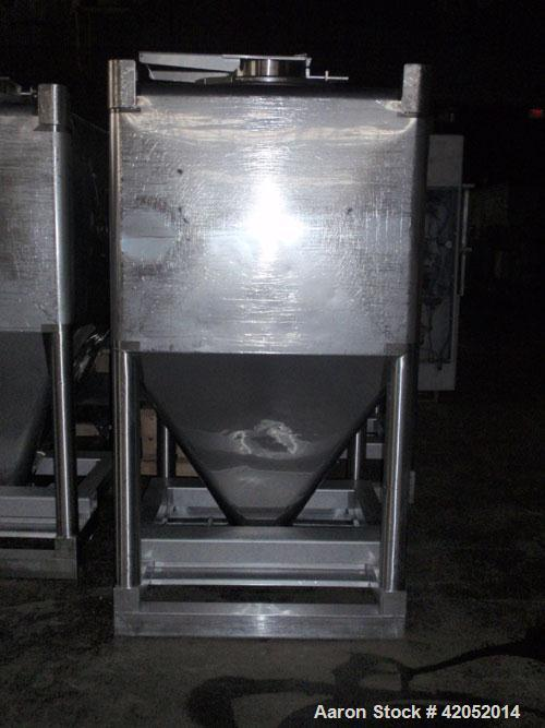 "Used- Gallay Stackable Tote Bin, 65 cubic feet (2000 liter), 316 stainless steel. 51-1/2"" long x 44-1/2"" wide x 37"" straight..."