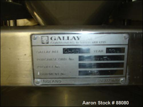 "Used- Gallay Tote Bin, Approximately 28 Cubic Feet, Stainless Steel. 54"" x 45"" x 12"" straight side x 26"" cone bottom. 16"" in..."