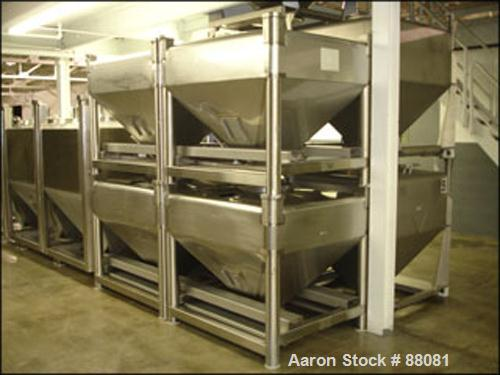 """Used- Gallay Tote Bin, Approximately 28 Cubic Feet, Stainless Steel. 54"""" x 45"""" x 12"""" straight side x 26"""" cone bottom. 16"""" in..."""