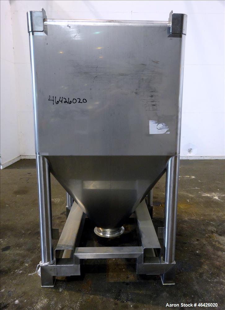 """Used- GEA Buck Systems Stackable Powder Tote Bin, Approximately 62 Cubic Feet, 316 Stainless Steel. 52"""" Long x 44"""" wide x 38..."""