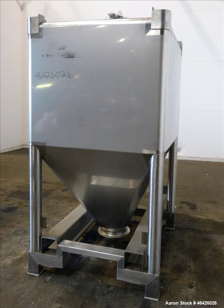 "Used- GEA Buck Systems Stackable Powder Tote Bin, Approximately 62 Cubic Feet, 316 Stainless Steel. 52"" Long x 44"" wide x 38..."