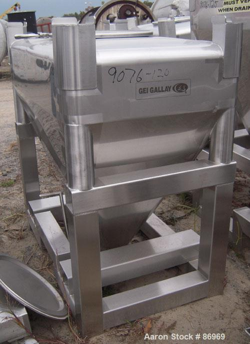 """Used- GEI Gallay Stackable Tote Bin, approximately 20 cubic feet, stainless steel. 43-1/2"""" wide x 28"""" long x 8"""" straight sid..."""
